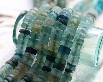 ANCIENT ROMAN GLASS No. 158 .. Genuine Ancient Roman Glass Heishi Tube Bead Strand (rg-158)