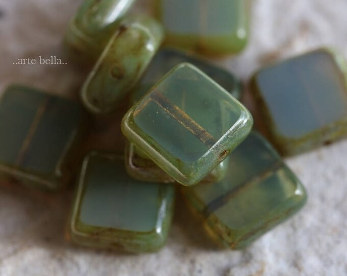 sale .. SAGE SQUARES .. 10 Premium Picasso Czech Glass Square Beads 11mm (B1002-10)