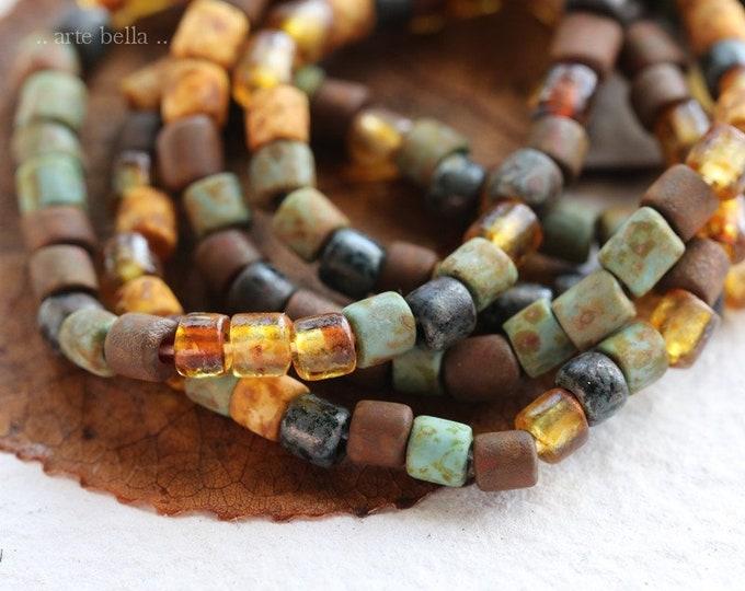 """AGED BUGLE MIX .. 20"""" Premium Aged Matte Picasso Czech Glass Bugle Beads Size 6 (7956-st)"""
