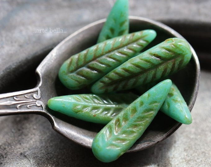 TURQUOISE FEATHERS .. 6 Premium Picasso Czech Glass Bird Feather Beads 5x17mm (6291-6)