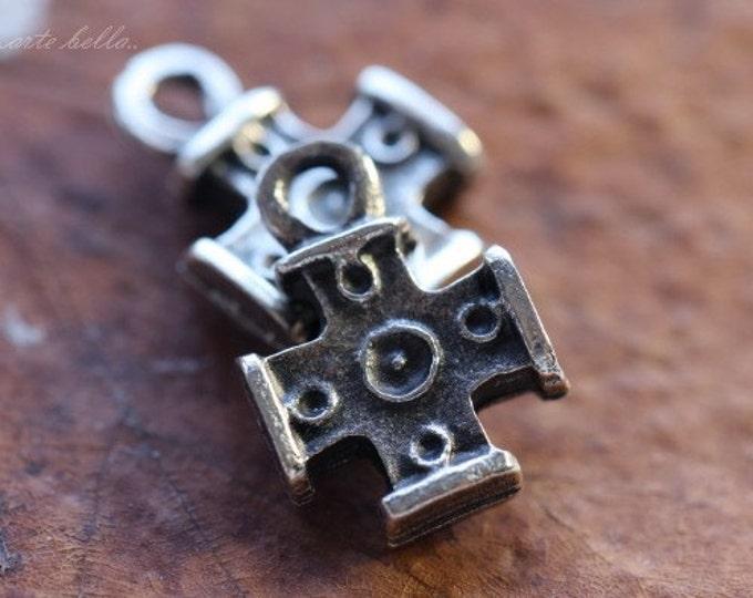 DECO CROSS No. 62 .. 2 Mykonos Greek Cross Charm Beads 12x16mm (M62-2)