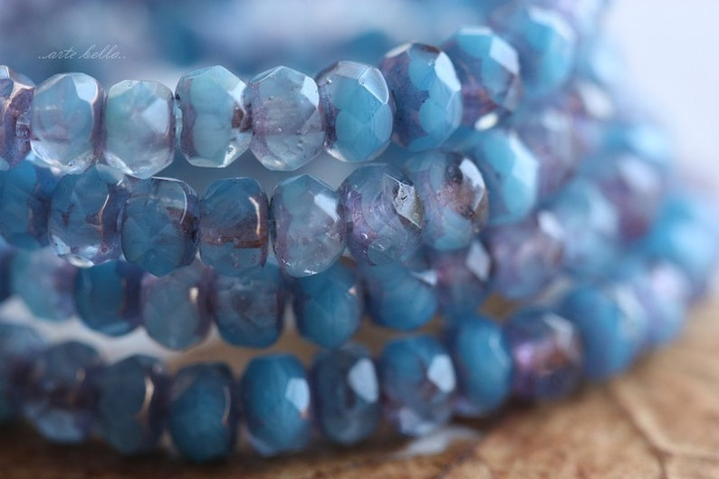 B27-st 30 Premium Picasso Czech Rondelle Glass Beads 3x5mm HYDRANGEA .