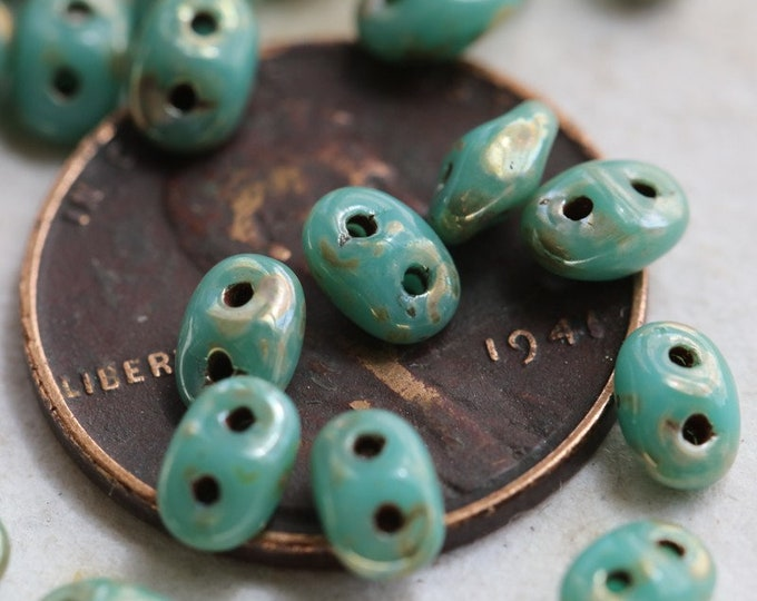 sale .. SILVERED TURQUOISE HOOTS No. 1 .. 50 Premium Picasso Czech Glass Super Duo Seed Beads 5x2.5mm (6396-50)