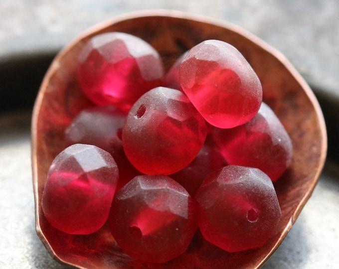 MATTE MULBERRY CRUSH  .. 10 Premium Czech Matte Glass Rondelle Beads 6x8-9mm (8112-10)