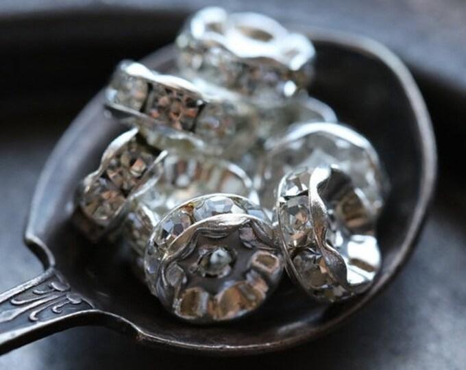 8mm Silver Czech Crystal Rhinestone Rondelles x 10 (rhi-31)