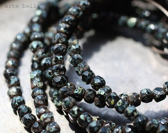 FRECKLED BLACKS .. 50 Picasso Black Czech Glass Beads 3x2mm (1506-st)