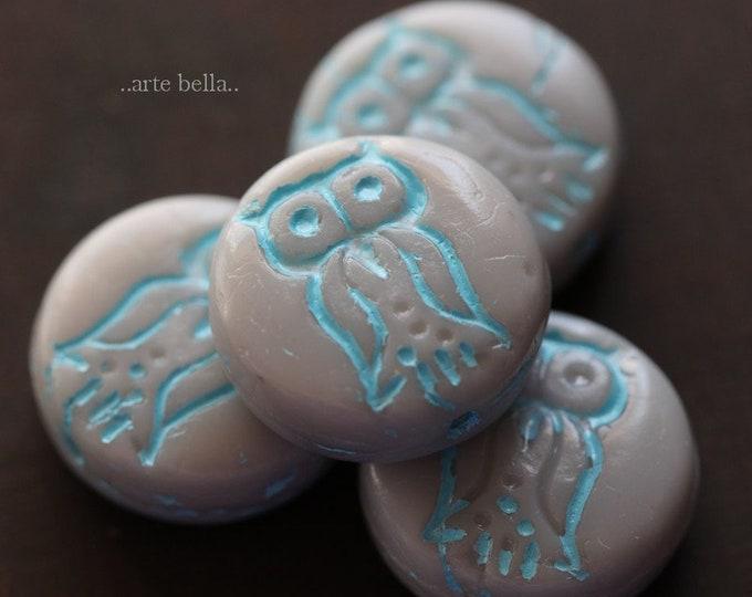 sale .. GRAY HOO HOO No. 2 .. 4 Premium Czech Glass Owl Coin Beads 14mm (6232-4)