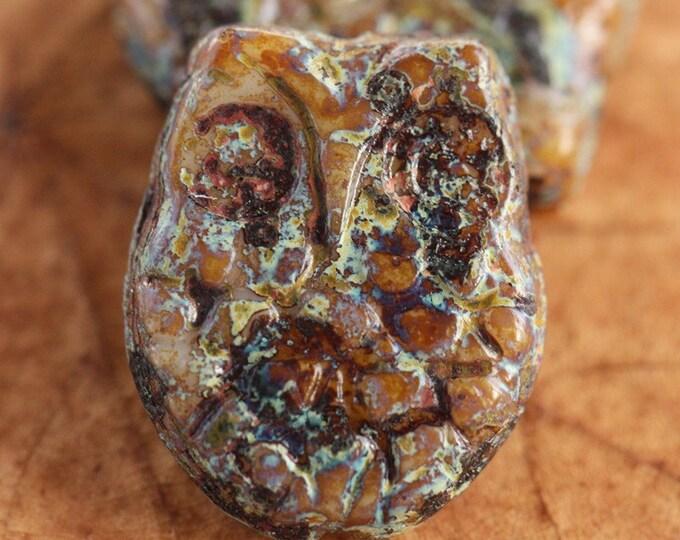 EARTHY HOOTS .. 2 Premium Picasso Czech Glass Owl Beads 18x14mm (4369-2)