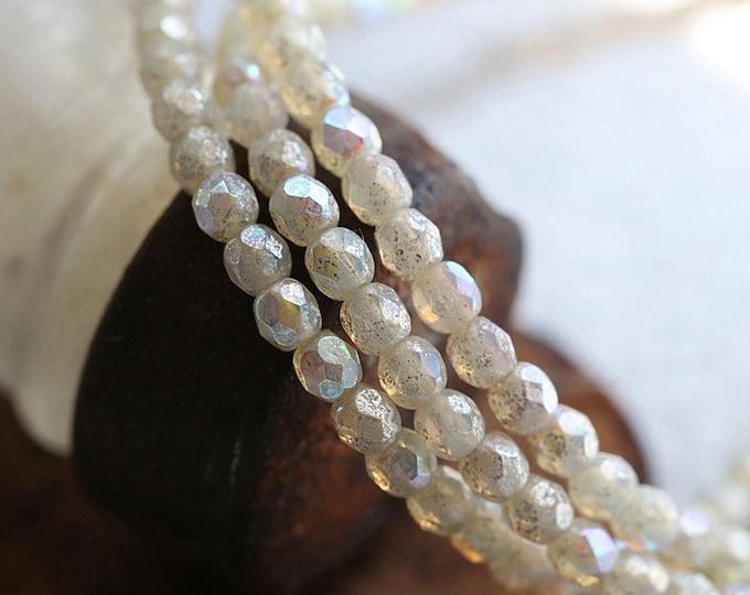 MYSTIC OPAL BITS No. 2 .. 50 Premium Czech Glass Faceted Aurora Borealis Round Beads 3mm (8230-st)
