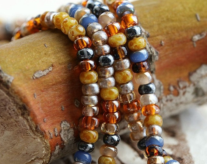 """INDIAN CORN SEEDS No. 8785 .. 22"""" Premium Picasso Aged Striped Czech Glass Seed Bead Mix Size 8/0 (8785-st)"""