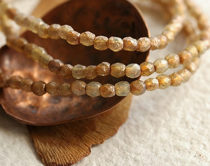 Rustic COPPER CASHMERE BITS 3mm .. 50 Premium Etched Czech Glass Faceted Round Beads (8896-st)
