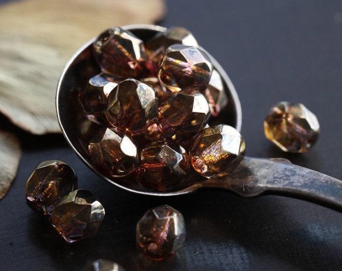 BRONZE PLUM PEBBLES .. 25 Premium Luster Picasso Czech Glass Beads 6mm (8739-25)