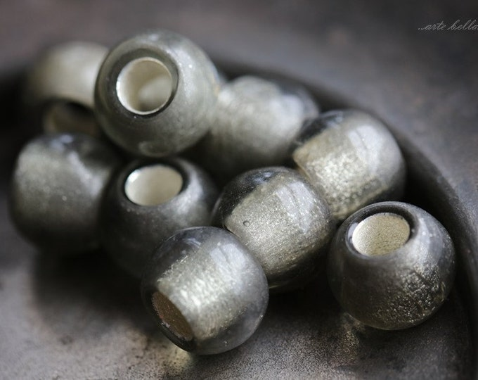 MERCURY ROLLERS .. 6 Premium Metallic Luster Czech Glass Large Hole Roller Beads 9x12mm (4995-6)