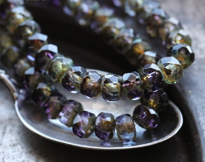 CRUSHED GRAPE BABIES .. 30 Premium Picasso Czech Glass Rondelle Beads 3x5mm (7653-st)