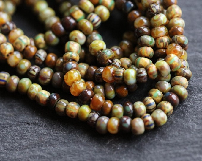 """OLD WORLD PIPS No. 7325 .. 20"""" Premium Picasso Czech Glass Aged Striped Seed Bead Mix Size 10/0 (7325-st)"""