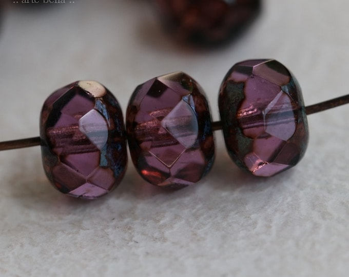 JUICED GRAPES .. 10 Premium Picasso Czech Rondelle Glass Beads 6x8mm (7316-10)
