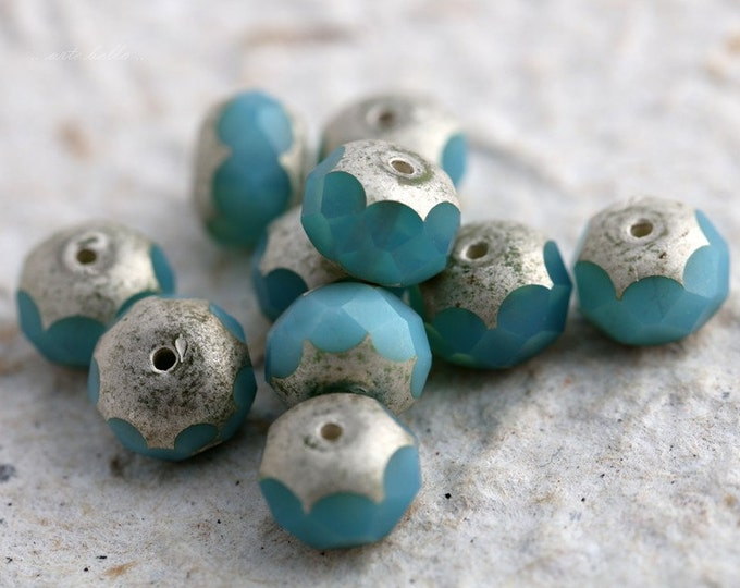 SILVERED BLUE DEW .. 10 Premium Picasso Czech Glass Rondelle Beads 6x8mm (5597-10)