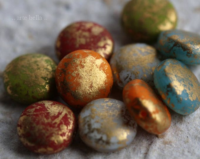 GILDED LENTIL MIX .. 10 Premium Picasso Czech Glass Lentil Beads 10mm (6058-10)
