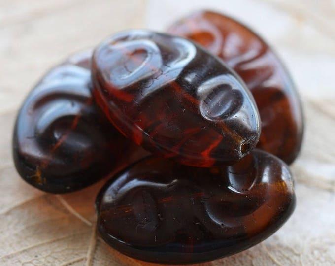 sale .. ROOT BEER RIPPLES .. 2 Premium Czech Glass Oval Beads 23x14mm (B4002-2)