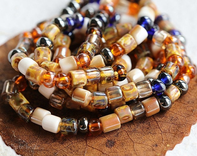 """AUTUMN SEED MIX .. 21"""" Premium Picasso Czech Glass Glossy Aged Seed Tube Bead Mix Size 6/0 (8229-st)"""