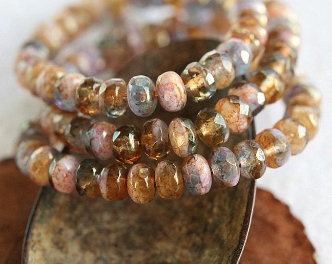GOLDEN FOXGLOVE BABIES .. 30 Premium Czech Glass Faceted Rondelle Beads 3x5mm (8624-st)