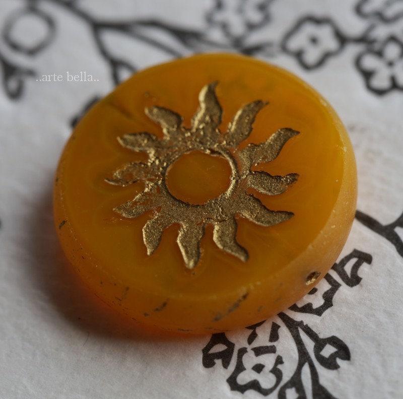 COPPER CORNFLOWER RAYS . 1 Premium Picasso Czech Glass Sun Coin Bead 22mm 7630-1
