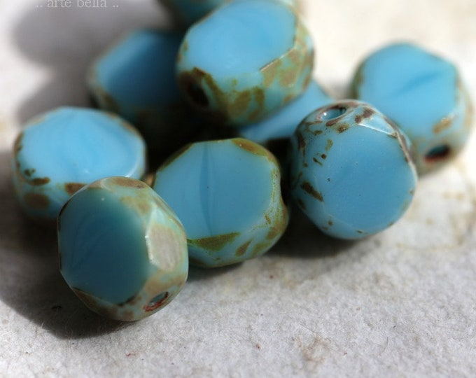 last ones .. SKY SLABS 6mm .. 10 Premium Picasso Czech Glass Coin Beads (6702-10)