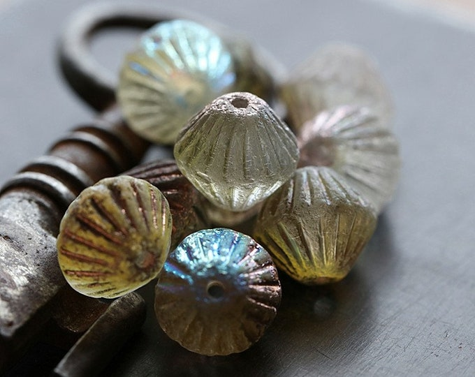 RUSTIC MYSTIC TUTUS .. 10 Premium Etched Czech Glass Fluted Bicone Beads 11mm (8806-10)