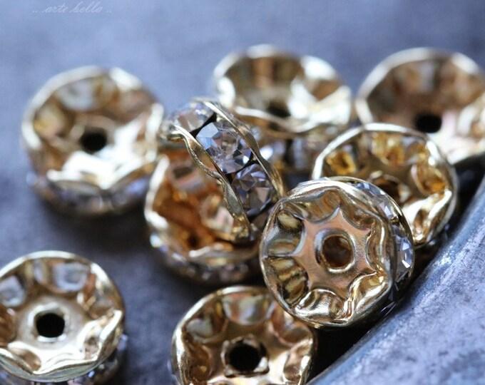8mm Gold Czech Crystal Rhinestone Rondelles x 10 (rhi-30)