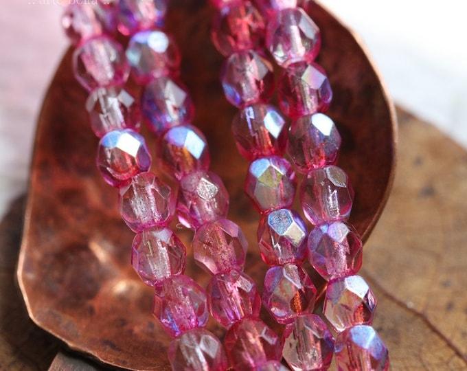 TUTTI FRUTTI.. 50 Premium Czech Glass Faceted Round Beads 4mm (8102-st)