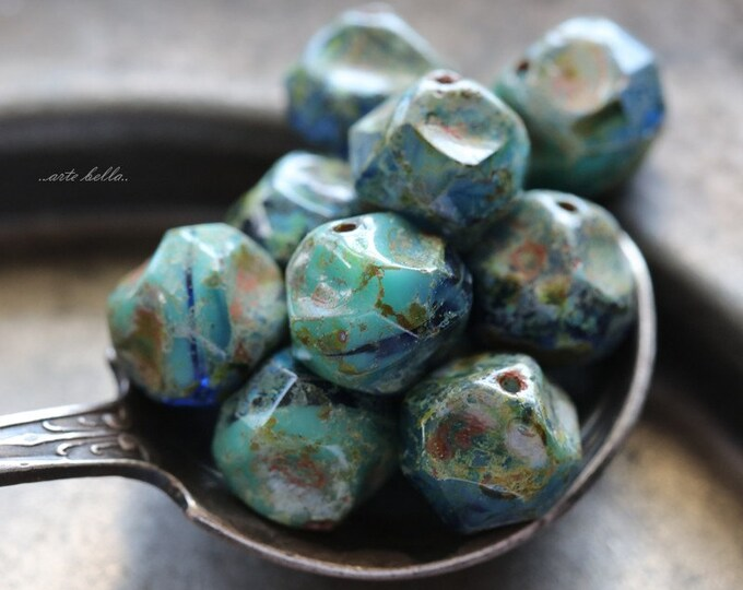 sale .. LAKESIDE No. 3 .. 10 Czech Picasso Glass Central Cut Beads 9mm (5169-10)