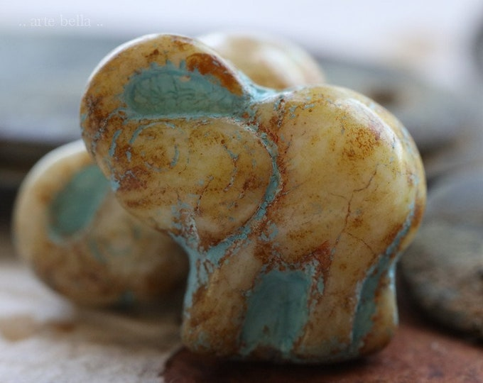 EARTHY IVORY ELLE .. New 2 Premium Picasso Czech Glass Elephant Beads 20x23mm (6406-2)