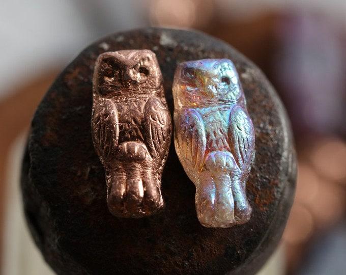 MYSTIC COPPER HOOTS .. 10 Premium Czech Glass Owl Beads 15x7mm (8707-10)