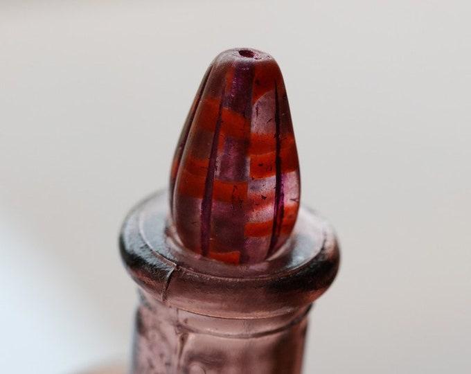 ORANGE BOYSENBERRY MELON Drops .. 10 Premium Czech Glass Melon Drop Beads 15x8mm (8278-st)
