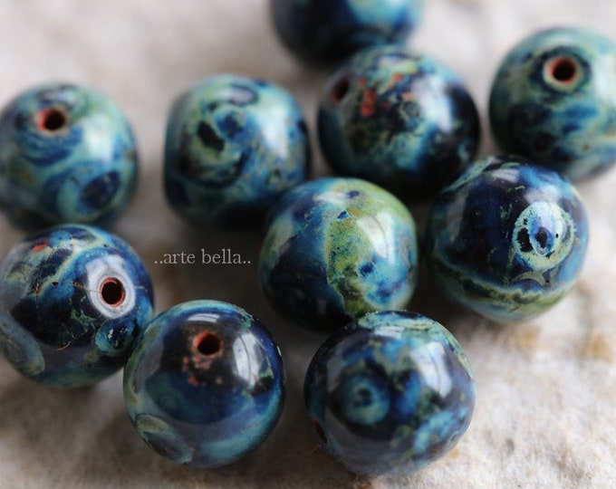 COBALT MARBLES 8mm .. NEW 10 Premium Picasso Czech Glass Druk Beads (6470-10)
