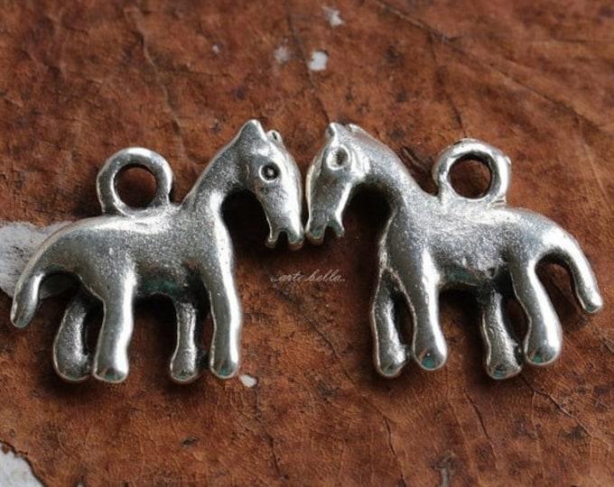 LIL' PONY No. 142 .. 4 Mykonos Greek Horse Pony Charms 17x15mm (M142-4)