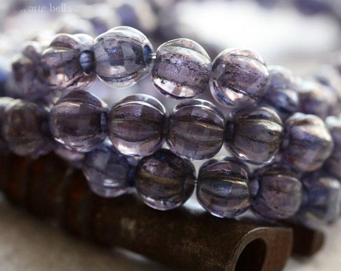 GOLDEN GRAPE MELONS 6mm .. 25 Premium Large Hole Czech Glass Melon Beads (8087-st)