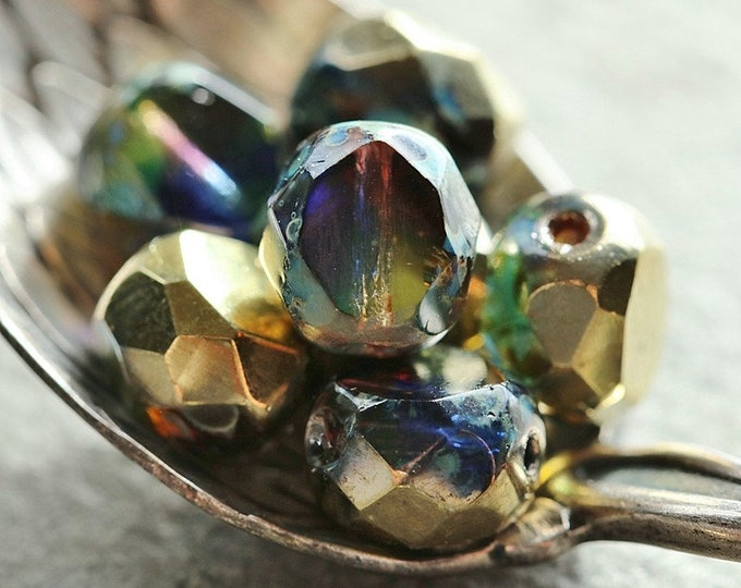 GOLDEN ROYALTY SLABS .. 10 Premium Picasso Czech Glass Table Cut Beads 8mm (8795-10)