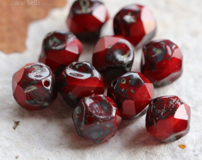 VAMP NUGGETS No. 2 .. 10 Premium Picasso Czech Glass Central Cut Beads 9mm (7548-10)
