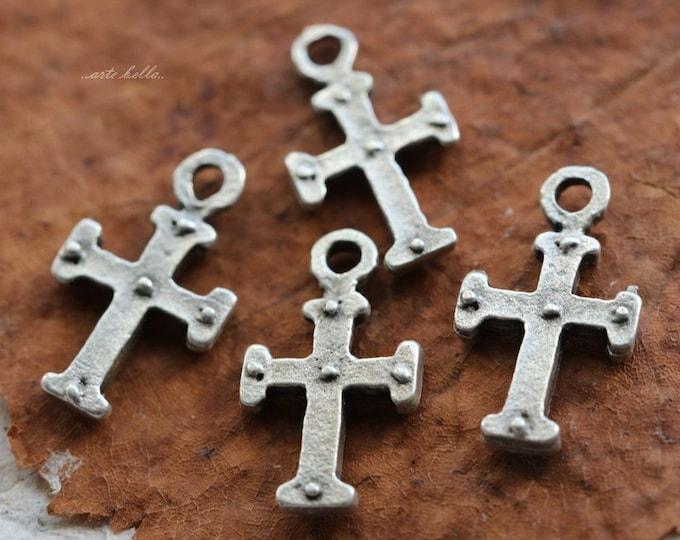 DECO CROSS No. 80 .. 4 Mykonos Greek Cross Charm Beads 9x15mm (M80-4)