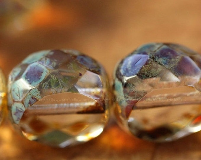 CLEARLY SLABS .. 6 Premium Picasso Czech Table Cut Glass Beads 12mm (2461-6)