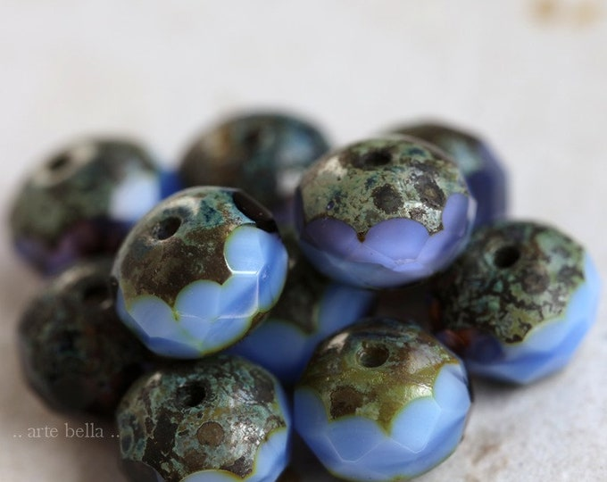 LUPINE .. 10 Premium Picasso Czech Glass Rondelle Beads 6x8mm (7304-10)
