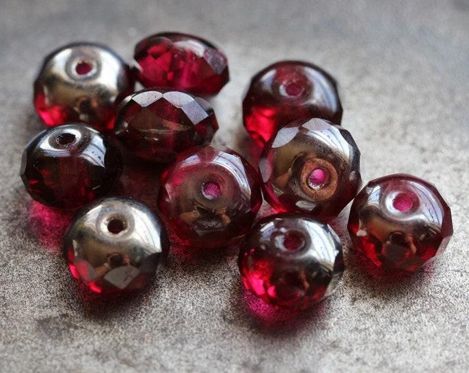 BERRY BLISS .. 10 Premium Czech Glass Fire Polished Beads 6x8mm (1119-10)