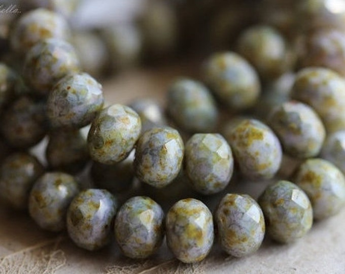 GILDED SMACK BITS .. 10 Premium Picasso Czech Glass Beads 5x7mm (4256-10)