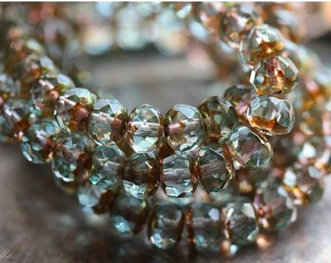 GOLDEN POND PEBBLES .. 17 Premium Picasso Czech Glass Rondelle Beads 5x7mm (4258-17)