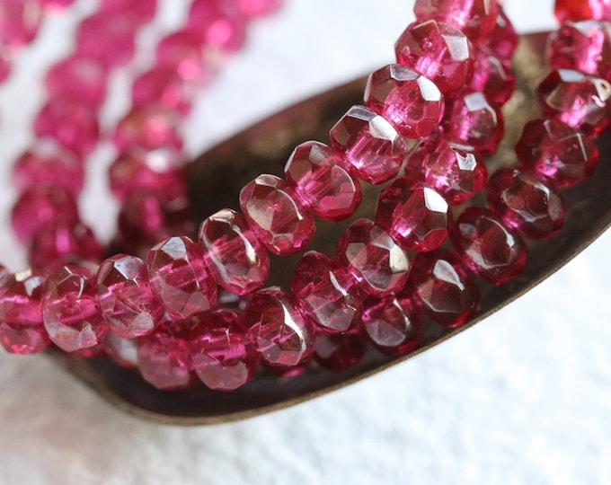 SILVERED MULBERRY CRUSH .. 30 Premium Luster Czech Glass Faceted Rondelle Beads 3x5mm (7917-st)