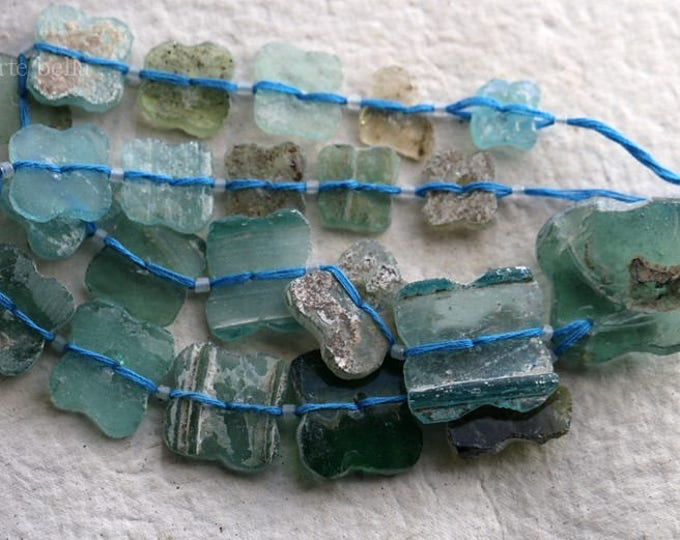ANCIENT ROMAN GLASS No. 297 .. Genuine Antique Roman Glass Fragment Beads (rg-297)