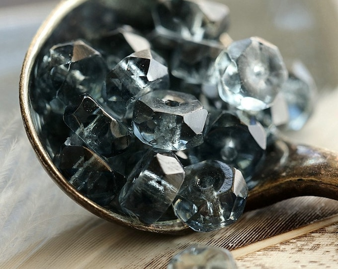 BLUE MONTANA WHEELS .. 25 Premium Czech Flat Rondelle Glass Beads 6x3mm (8868-25)