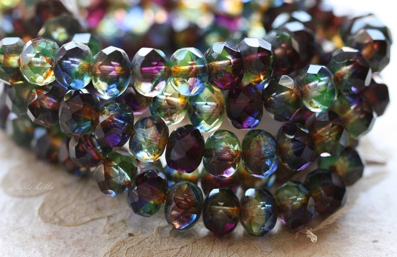 ROYALTY .. 10 Premium Picasso Czech Rondelle Glass Beads 6x8mm (4630-10) photo