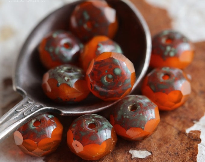 ORANGE CRUSH .. 10 Premium Picasso Czech Glass Rondelle Beads 6x9mm (7034-10)